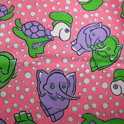 1970s Trippy Elephants and Turtles Cotton Remnant