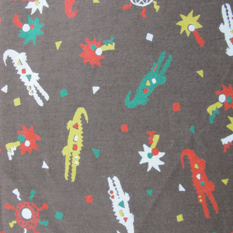 1970s Novelty Alligators Print Cotton