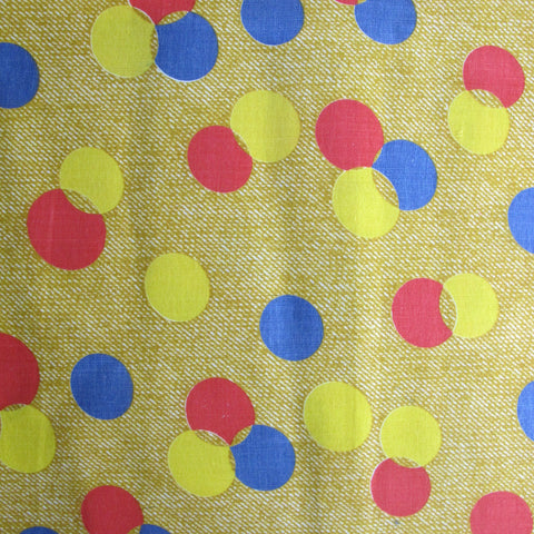 1970s Mock Denim Spots Print Cotton