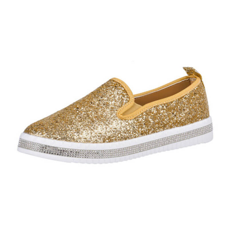 Dames mode mocassins strass Paillette brillant