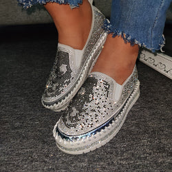 Femmes strass Skull Hit couleur Slip On mocassins confortables baskets