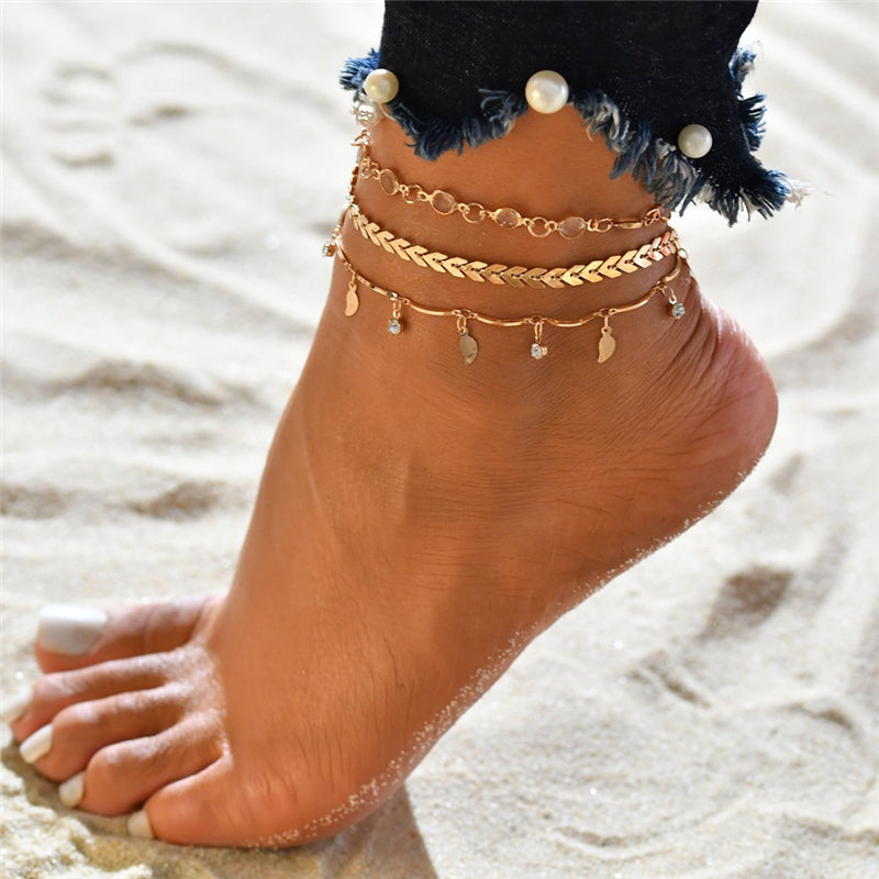 3pc / set Femmes Summer Beach Anklet Gland Pendentif Couches Anklet