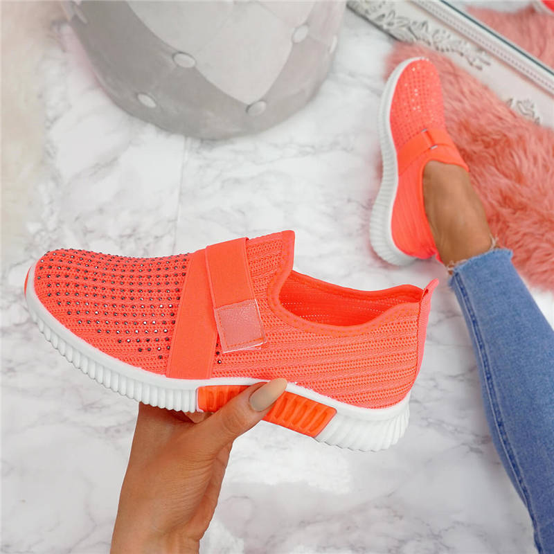 Mesdames mode Bling strass Flyknit tissu antidérapant respirant plate-forme baskets