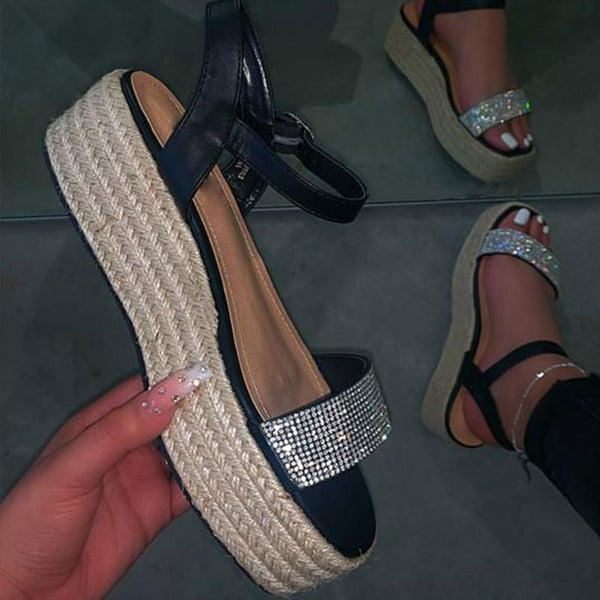 Femmes Plus Taille Strass Boucle Sandales Espadrille Strap