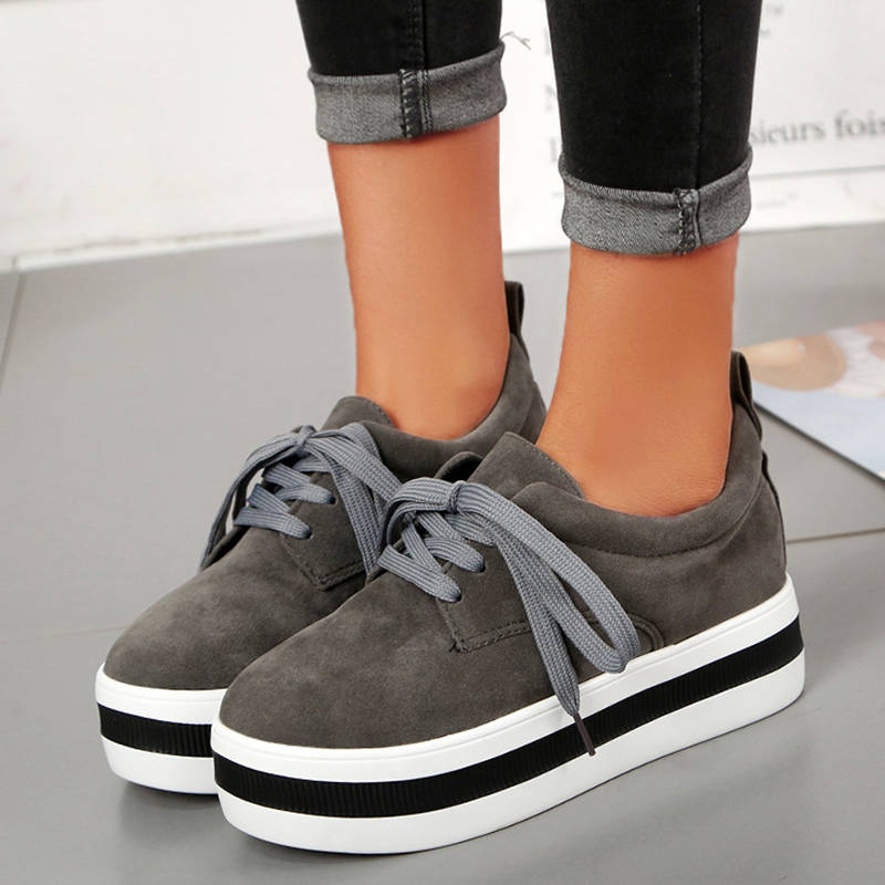 Femmes Chic Suede Hit Colors Lace Up Creepers Muffin Mocassins Flâneurs
