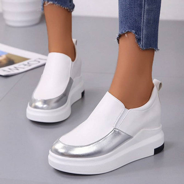 Femmes Comfy Shiny Hit Colors Slip On Platform Mocassins chaussons