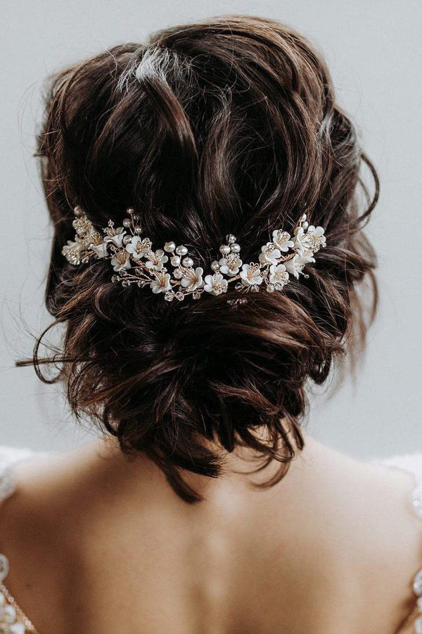 Bridal hair accessories with crystals and porcelain flowers to pin - Merry