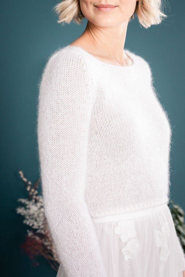 Braut Pullover aus Mohair Mix in Ivory - Mailenn