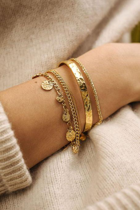 Brautarmband, Kettenarmband in Layer-Optik in Gold oder Silber