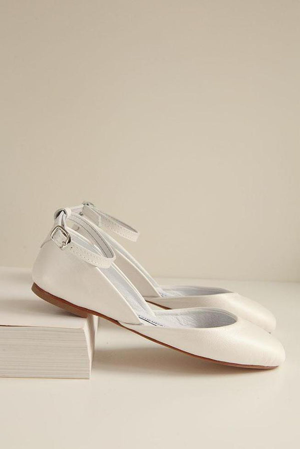Bridal ballerina, flat bridal shoes with satin ribbons from sustainable production - Pearl Ivory