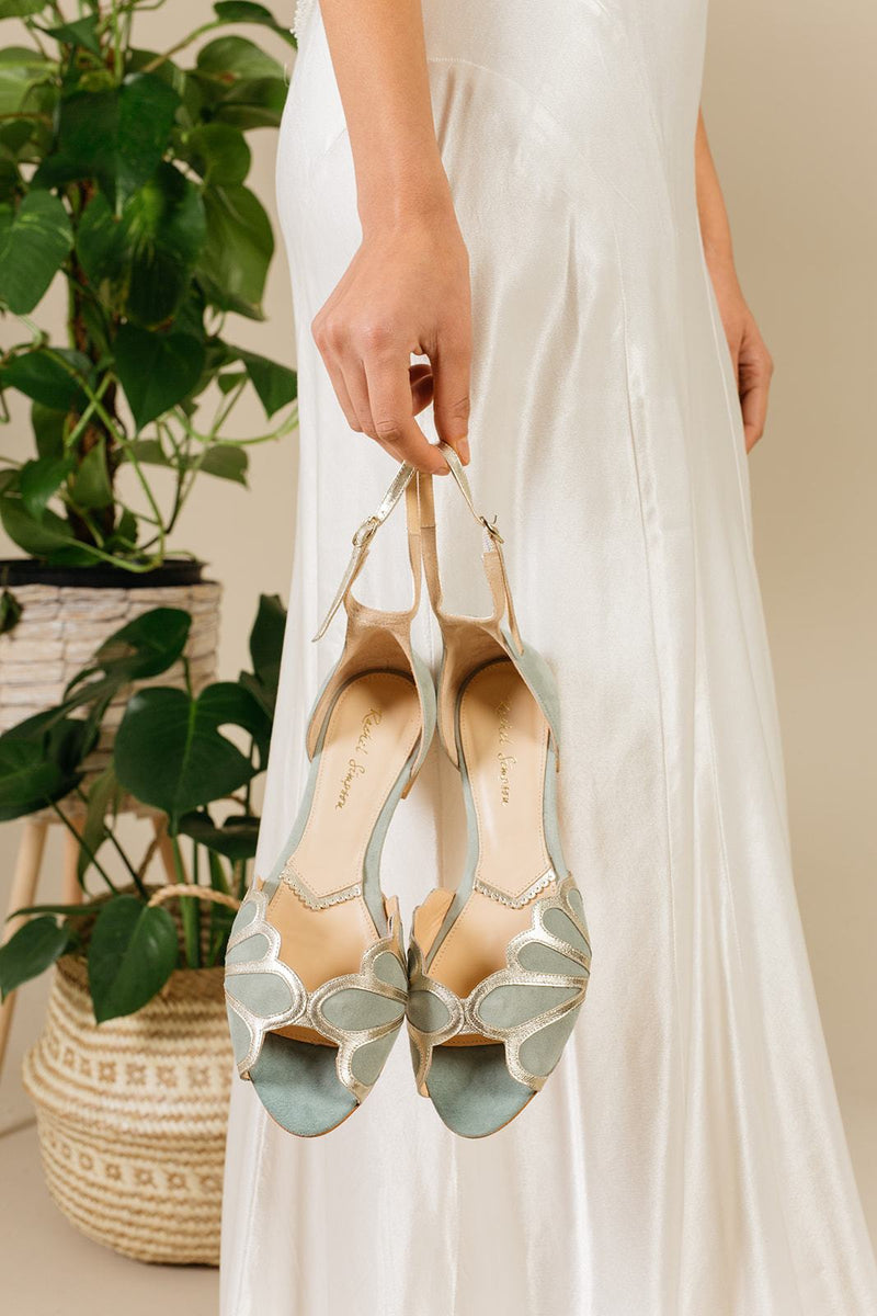 Bridal sandals made of suede with golden details - Willow Mint Gold