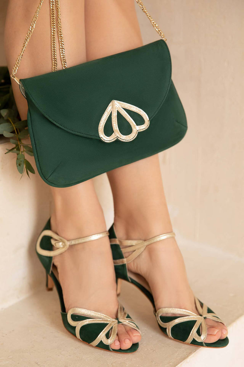 Grüne Wildleder-Clutch mit goldenem Detail - Opal Forest Green Suede