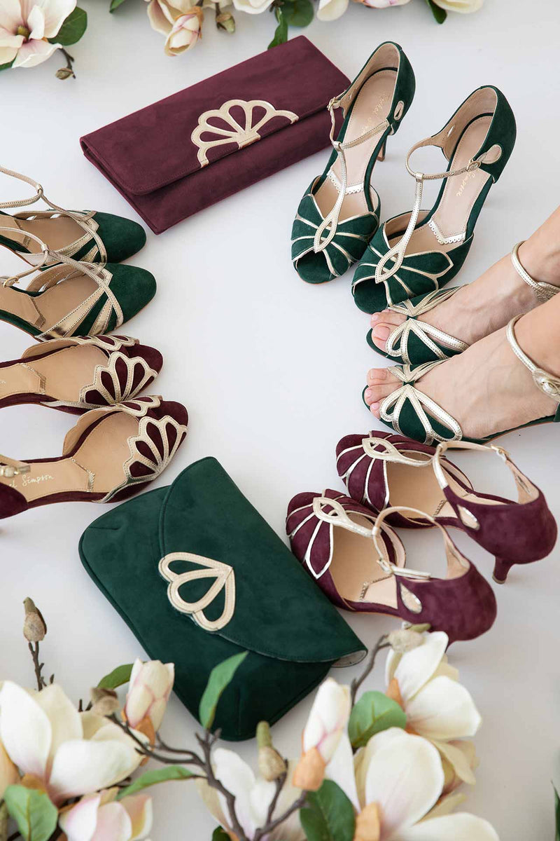 Rachel Simpson Gruppenbild, Brautschuhe, Clutches, Kollektion Herbst/Winter 2020/2021