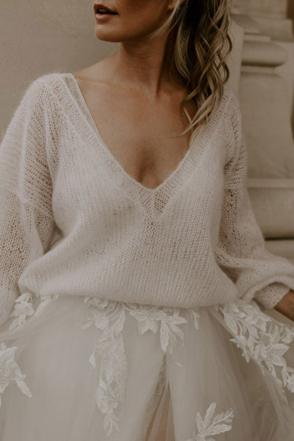 Lightweight V-neck bridal sweater-Lovely Lou Sweater