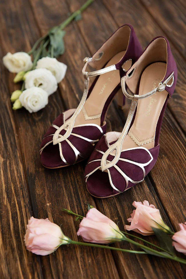 Peeptoes in Violett mit Gold - Mimosa Berry Suede