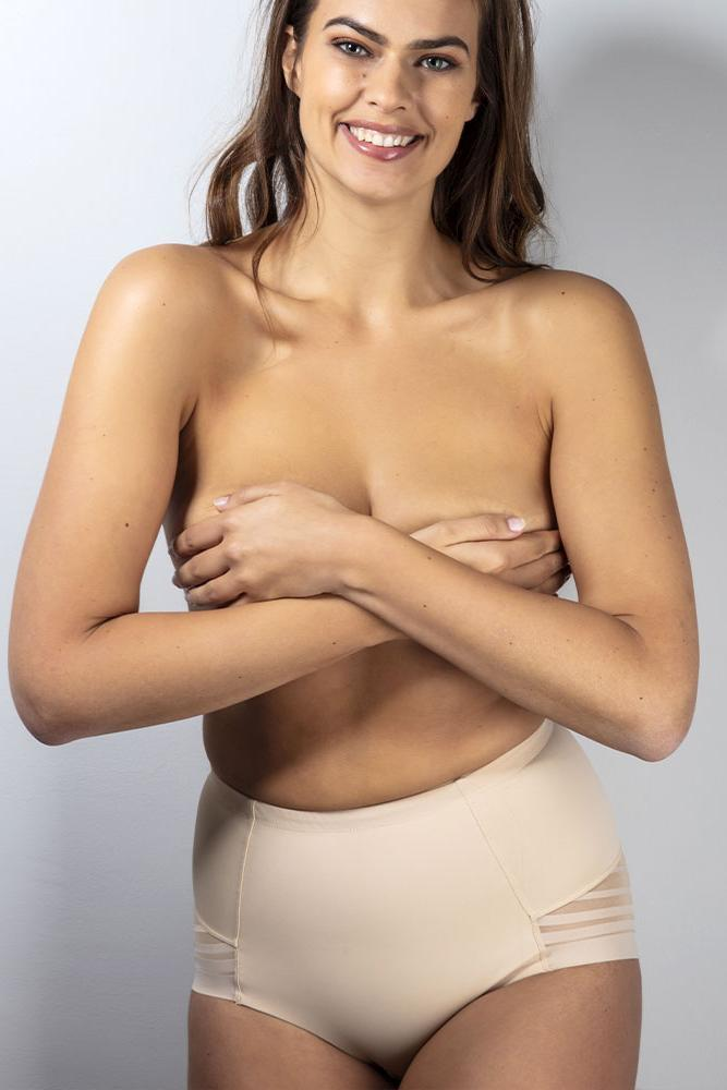 Shaping Slip mit Spitzen-Einsatz in Beige - Invisible Shapewear Brief