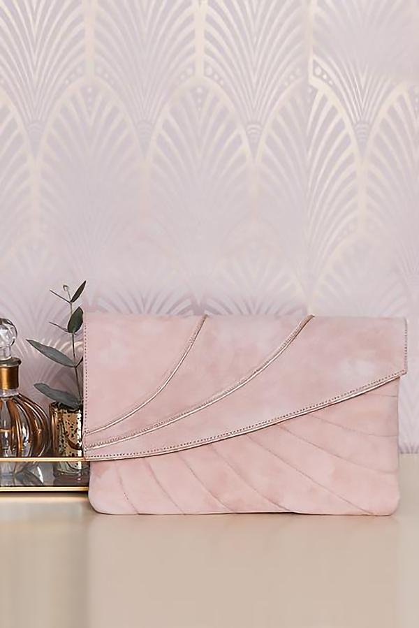 Wildleder Clutch im Vintage-Stil in Rosé und Gold - Sabine Powder Pink