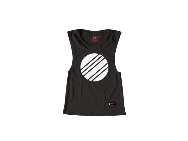 White Circle Grey Muscle Tee Women