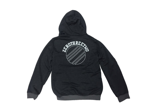 Transparent Circle Zip Hoodie Grey