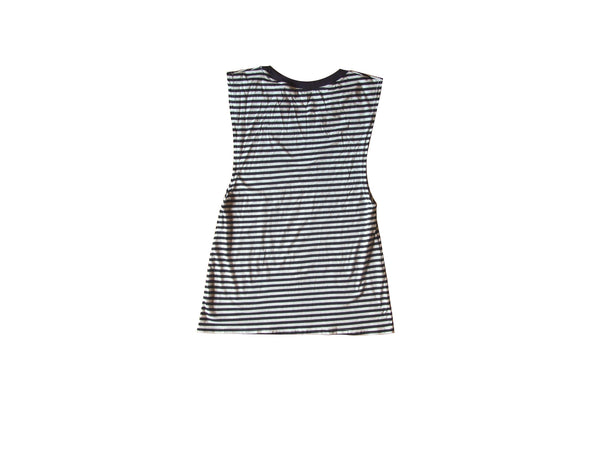 Blue Striped Muscle Tee Women