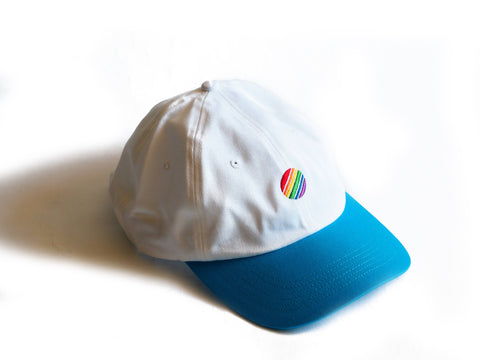 Rainbow Circle Dad Hat White Sky Blue