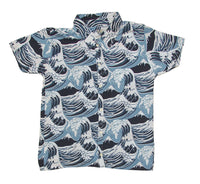 Waves Blue Button Down Shirt Men