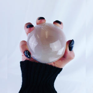 Selinite Crystal Ball Occult Nails