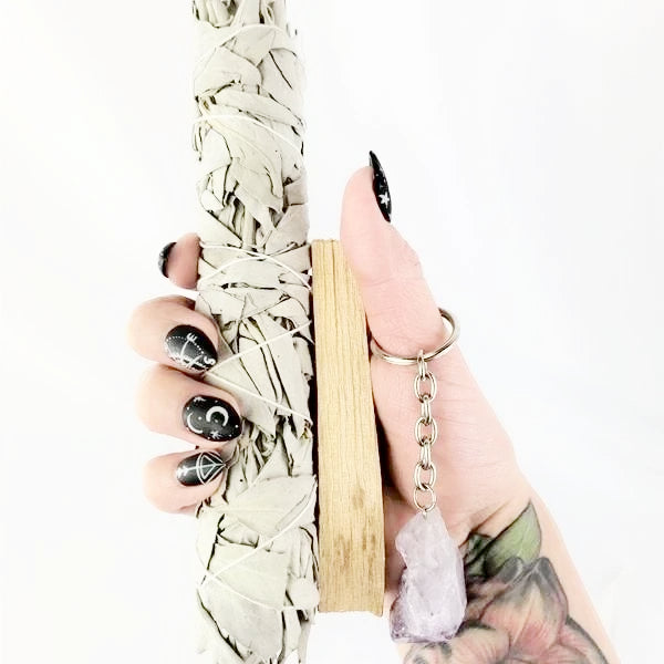 White Sage Smudge Kit Amethyst Keychain Palo Santo Incense