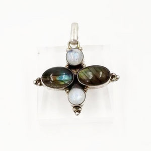 Sterling Silver Pendant Labradorite and Moonstone