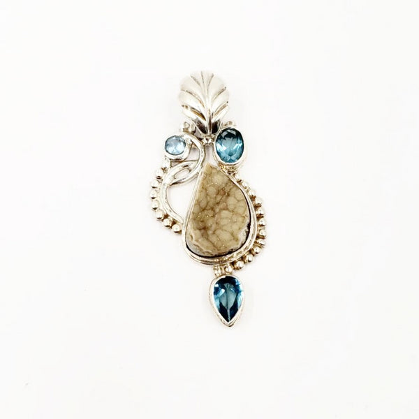Sterling Silver Pendant White Druzy and Apatite