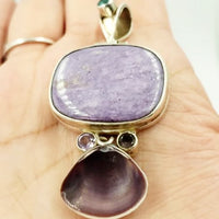 Sterling Silver Pendant Charoite Amthyst Apatite and Shell - Pendant