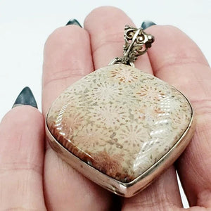 Sterling Silver Pendant Fossilized Coral