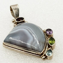 Load image into Gallery viewer, Multi Gemstone Sterling Silver Pendant Agate