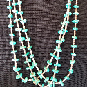 Santo Domingo 3 Strand Turquoise Necklace Shell Heishi Native American Old Pawn - Elevated Metaphysical