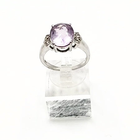 Sterling Silver 4.0 ct Amethyst & White Topaz Ring Band - Ring
