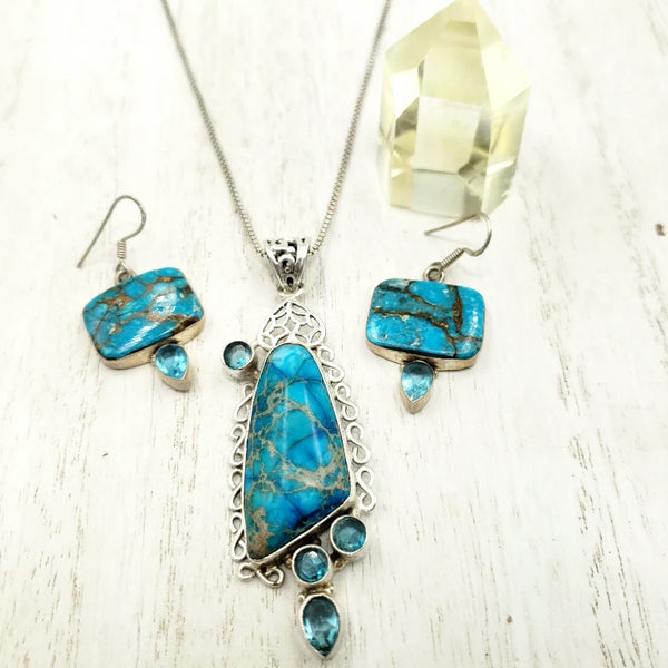 Sterling Silver Blue Apatite Necklace & Earring Jewelry Set