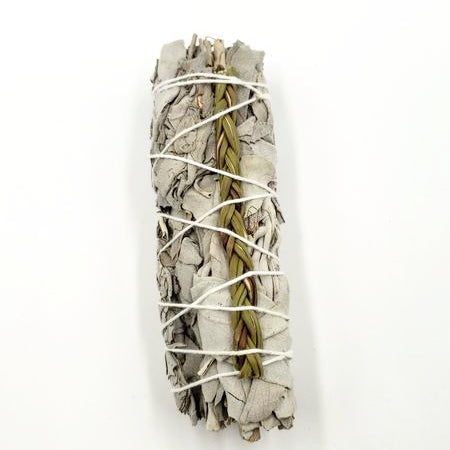 "White Sage & Sweetgrass Smudge Wand Stick 4"" - Incense and Herbs - Elevated Metaphysical"