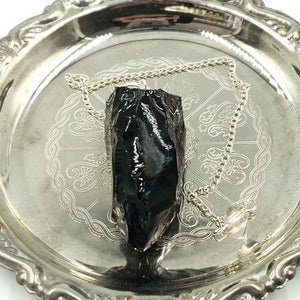 Black Obsidian Pendulum Rough - Elevated Metaphysical