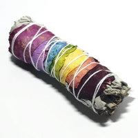 "White Sage & Rose Petals Chakra Smudge Wand Stick 4"" - Incense and Herbs - Elevated Metaphysical"