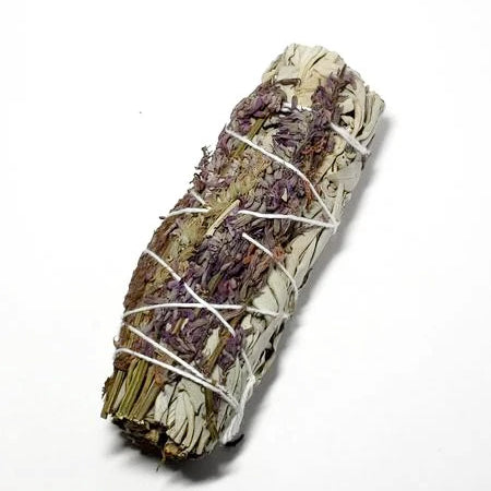 "White Sage & Purple ""Royal"" Lavender Smudge Stick Wand 4"" - Incense and Herbs - Elevated Metaphysical"