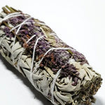 "Load image into Gallery viewer, White Sage & Purple ""Royal"" Lavender Smudge Stick Wand 4"" - Incense and Herbs - Elevated Metaphysical"