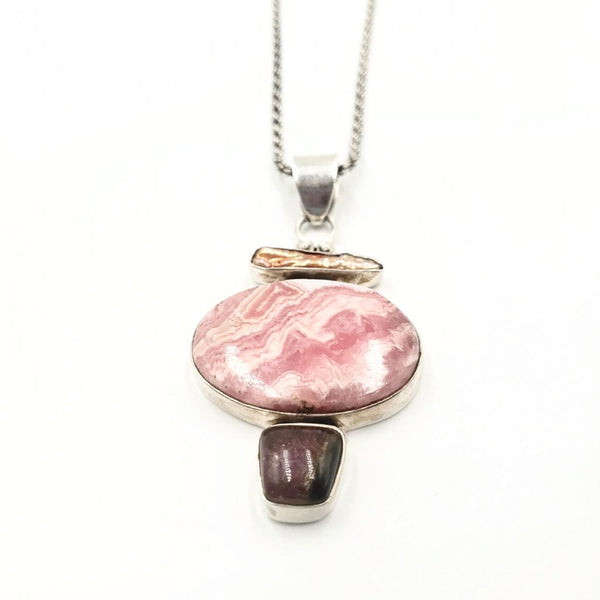 Sterling Silver Necklace Rhodochrosite Stone