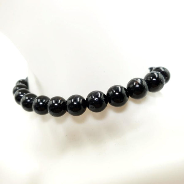 Black Tourmaline Bead Bracelet 8mm - Bracelet