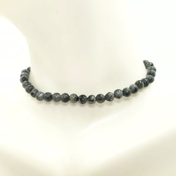 Black Labradorite Bead Bracelet 4mm