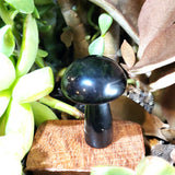 Black Obsidian Mushroom Figurine Carving 48mm 2""