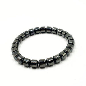 Hematite Barrel Bead Bracelet 8mm