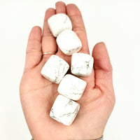 Howlite Cube Tumbled Stone - Elevated Metaphysical