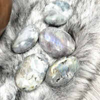 Labradorite Palm Stone Smooth Stone Purple/Orange Labradorite - Elevated Metaphysical