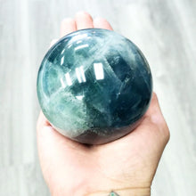 "Load image into Gallery viewer, Blue Fluorite Sphere 3"" 75mm 25oz 709g - Elevated Metaphysical"
