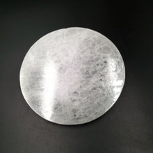 "Load image into Gallery viewer, Selenite Round Generator Plate 5"" - Elevated Metaphysical"